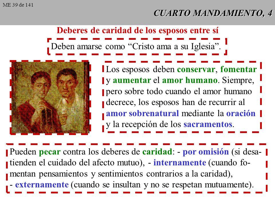 CUARTO MANDAMIENTO, 4 Deberes de caridad de los esposos entre sí Deben amarse como Cristo ama a su Iglesia.