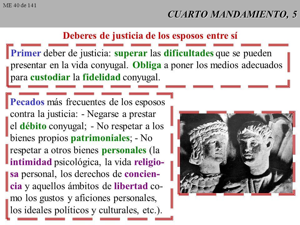 CUARTO MANDAMIENTO, 5 Deberes de justicia de los esposos entre sí Primer deber de justicia: superar las dificultades que se pueden presentar en la vida conyugal.