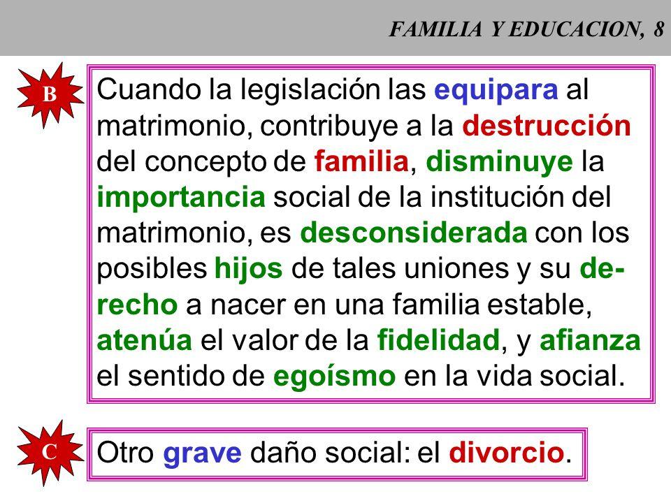 FAMILIA Y EDUCACION, 7 A Las parejas de hecho no corres- ponden al plan de Dios sobre el amor humano y son contrarias a la dignidad personal que exige