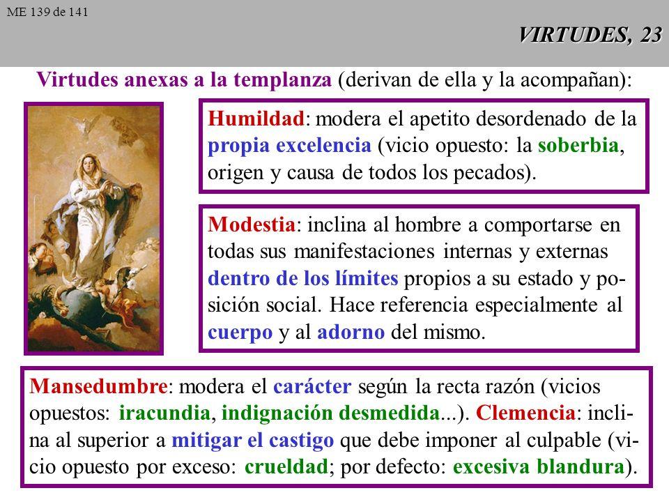 VIRTUDES, 23 Humildad: modera el apetito desordenado de la propia excelencia (vicio opuesto: la soberbia, origen y causa de todos los pecados).