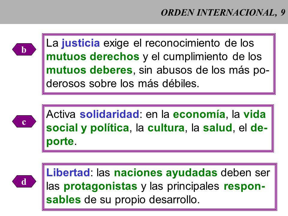 ORDEN INTERNACIONAL, 8 Las relaciones entre las naciones deben regularse por las normas de la verdad, la justicia, la activa solidaridad y la libertad Pacem in terris (1963) 302 (Pacem in terris (1963) 302).