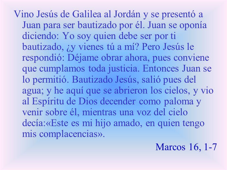 Vino Jesús de Galilea al Jordán y se presentó a Juan para ser bautizado por él. Juan se oponía diciendo: Yo soy quien debe ser por ti bautizado, ¿y vi