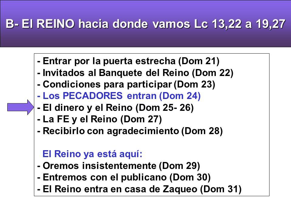 B-El REINO hacia donde vamos Lc 13,22 a 19,27 B- El REINO hacia donde vamos Lc 13,22 a 19,27 - Entrar por la puerta estrecha (Dom 21) - Invitados al Banquete del Reino (Dom 22) - Condiciones para participar (Dom 23) - Los PECADORES entran (Dom 24) - El dinero y el Reino (Dom 25- 26) - La FE y el Reino (Dom 27) - Recibirlo con agradecimiento (Dom 28) El Reino ya está aquí: - Oremos insistentemente (Dom 29) - Entremos con el publicano (Dom 30) - El Reino entra en casa de Zaqueo (Dom 31)