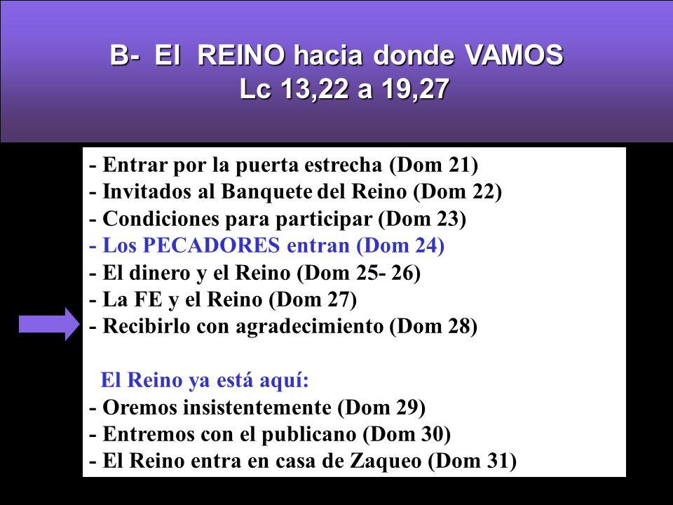 - Entrar por la puerta estrecha (Dom 21) - Invitados al Banquete del Reino (Dom 22) - Condiciones para participar (Dom 23) - Los PECADORES entran (Dom 24) - El dinero y el Reino (Dom 25- 26) - La FE y el Reino (Dom 27) - Recibirlo con agradecimiento (Dom 28) El Reino ya está aquí: - Oremos insistentemente (Dom 29) - Entremos con el publicano (Dom 30) - El Reino entra en casa de Zaqueo (Dom 31) B-El REINO hacia donde VAMOS Lc 13,22 a 19,27 B- El REINO hacia donde VAMOS Lc 13,22 a 19,27