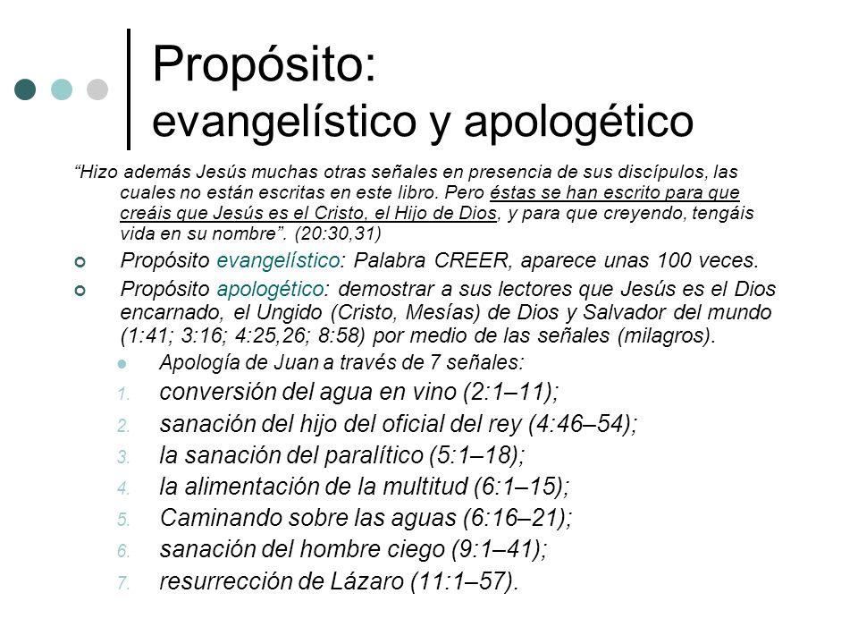 Propósito: evangelístico y apologético Hizo además Jesús muchas otras señales en presencia de sus discípulos, las cuales no están escritas en este lib