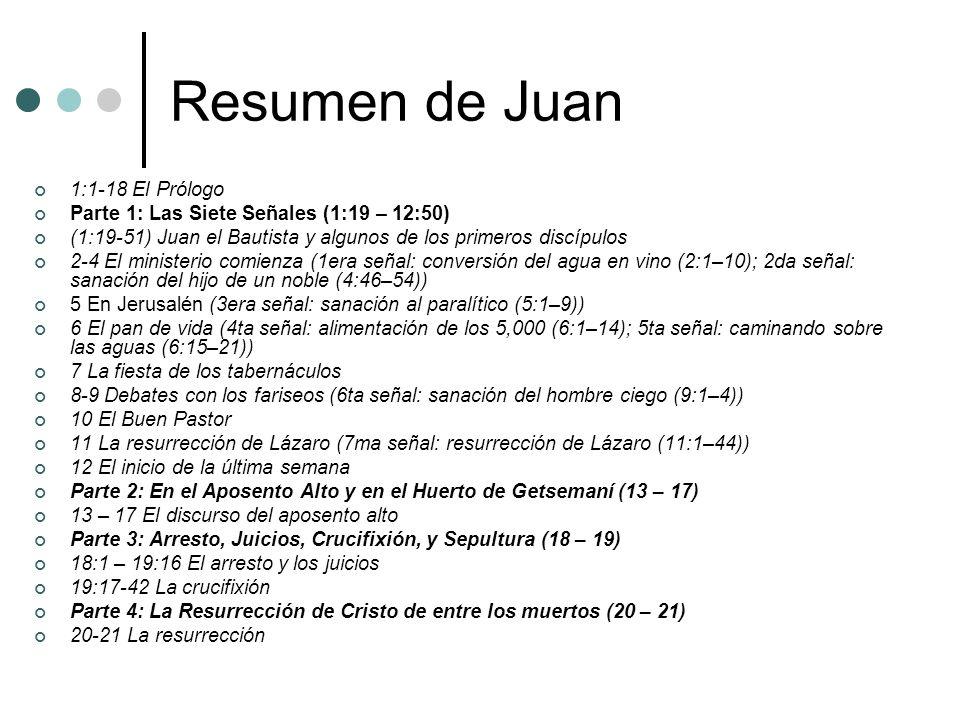Resumen de Juan 1:1-18 El Prólogo Parte 1: Las Siete Señales (1:19 – 12:50) (1:19-51) Juan el Bautista y algunos de los primeros discípulos 2-4 El min