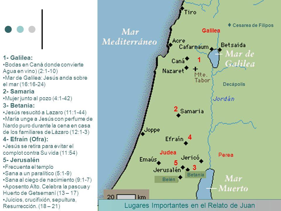 Perea Galilea Judea Lugares Importantes en el Relato de Juan Cesarea de Filipos 1 Decápolis 2 3 Betania Belén 4 5 1- Galilea: Bodas en Caná donde conv