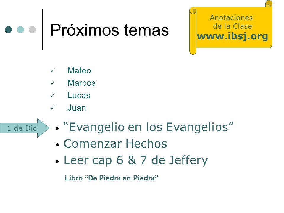 Próximos temas Mateo Marcos Lucas Juan Evangelio en los Evangelios Comenzar Hechos Leer cap 6 & 7 de Jeffery Libro De Piedra en Piedra 1 de Dic Anotac