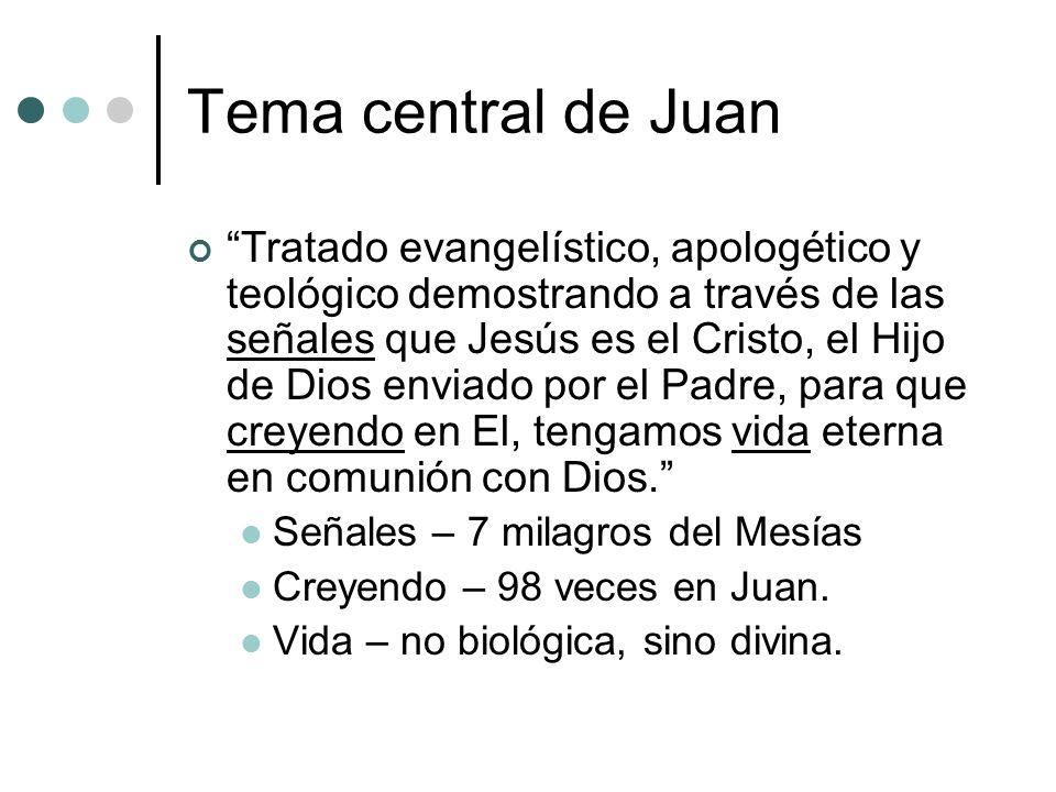 Tema central de Juan Tratado evangelístico, apologético y teológico demostrando a través de las señales que Jesús es el Cristo, el Hijo de Dios enviad