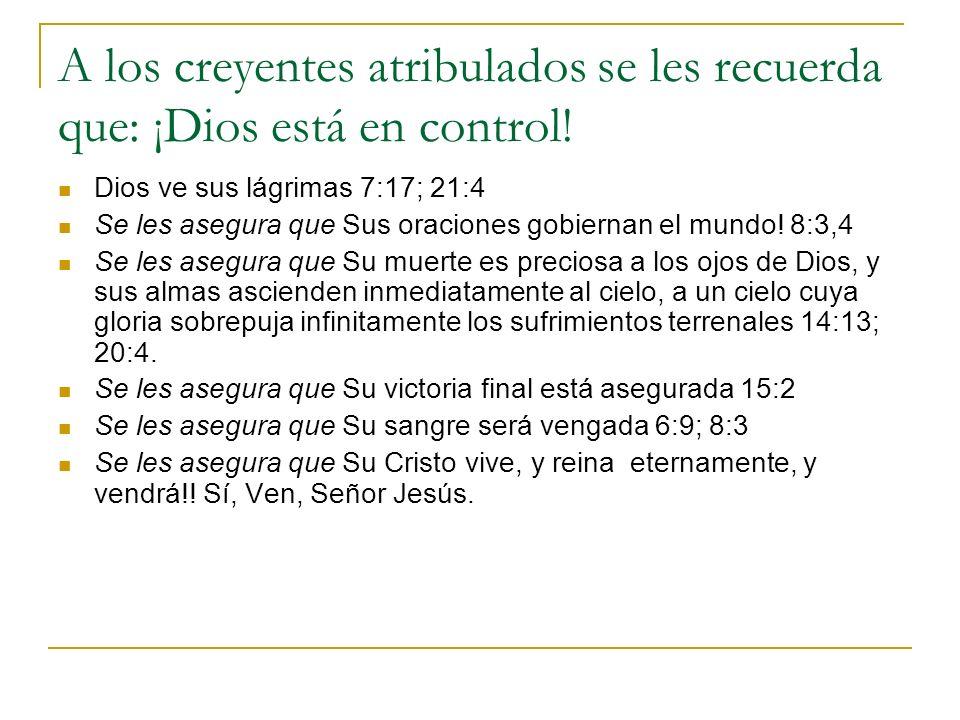 A los creyentes atribulados se les recuerda que: ¡Dios está en control! Dios ve sus lágrimas 7:17; 21:4 Se les asegura que Sus oraciones gobiernan el