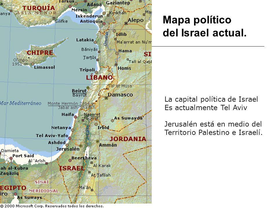 Mapa político del Israel actual. La capital política de Israel Es actualmente Tel Aviv Jerusalén está en medio del Territorio Palestino e Israelí.