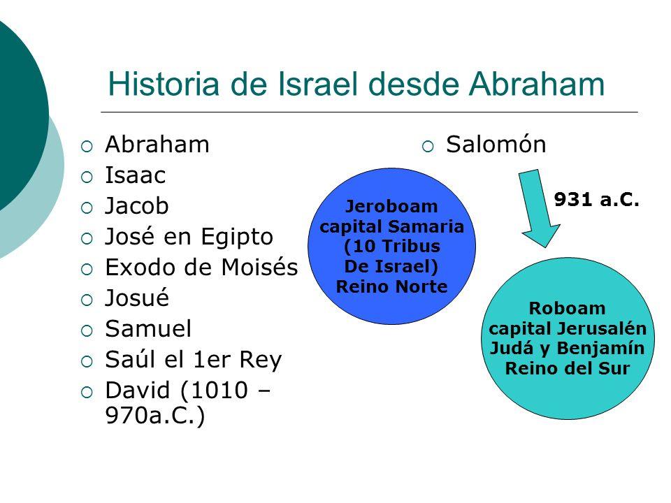 Historia de Israel desde Abraham Abraham Isaac Jacob José en Egipto Exodo de Moisés Josué Samuel Saúl el 1er Rey David (1010 – 970a.C.) Salomón Jerobo