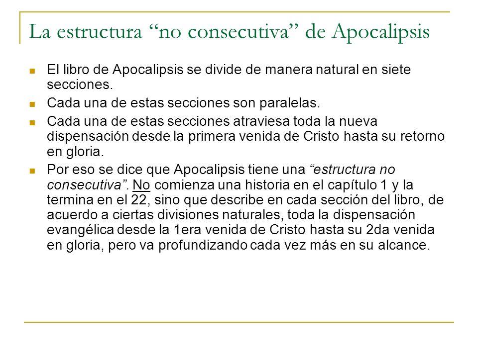 La estructura no consecutiva de Apocalipsis El libro de Apocalipsis se divide de manera natural en siete secciones. Cada una de estas secciones son pa