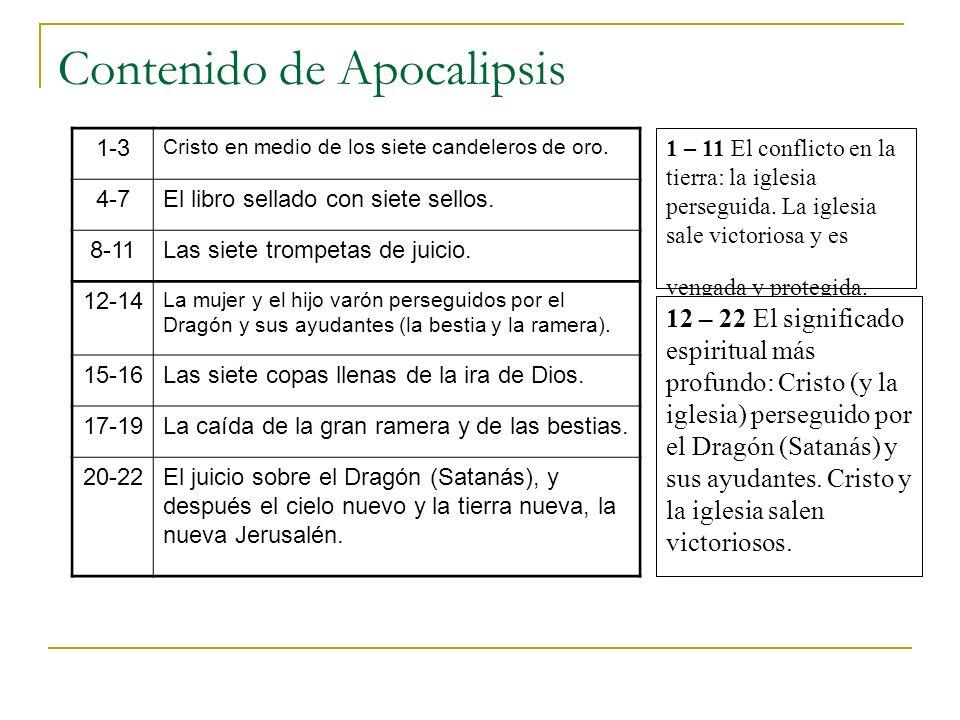 Contenido de Apocalipsis 1 – 11 El conflicto en la tierra: la iglesia perseguida. La iglesia sale victoriosa y es vengada y protegida. 12 – 22 El sign