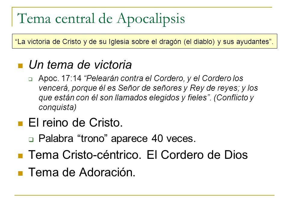 Tema central de Apocalipsis La victoria de Cristo y de su Iglesia sobre el dragón (el diablo) y sus ayudantes. Un tema de victoria Apoc. 17:14 Peleará