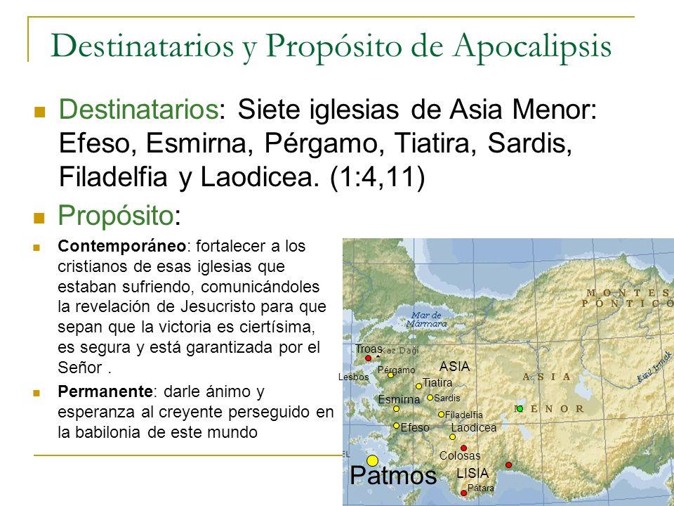 Destinatarios: Siete iglesias de Asia Menor: Efeso, Esmirna, Pérgamo, Tiatira, Sardis, Filadelfia y Laodicea. (1:4,11) Patmos Esmirna Troas Lesbos ASI
