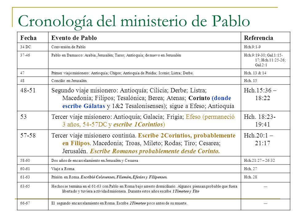Cronología del ministerio de Pablo FechaEvento de PabloReferencia 34 DCConversión de PabloHch.9:1-9 37-46Pablo en Damasco: Arabia, Jerusalén; Tarso; Antioquía; de nuevo en JerusalénHch.9:19-30; Gal.1:15- 17; Hch.11:25-26; Gal.2:1 47Primer viaje misionero: Antioquía; Chipre; Antioquía de Pisidia; Iconio; Listra; Derbe.Hch.
