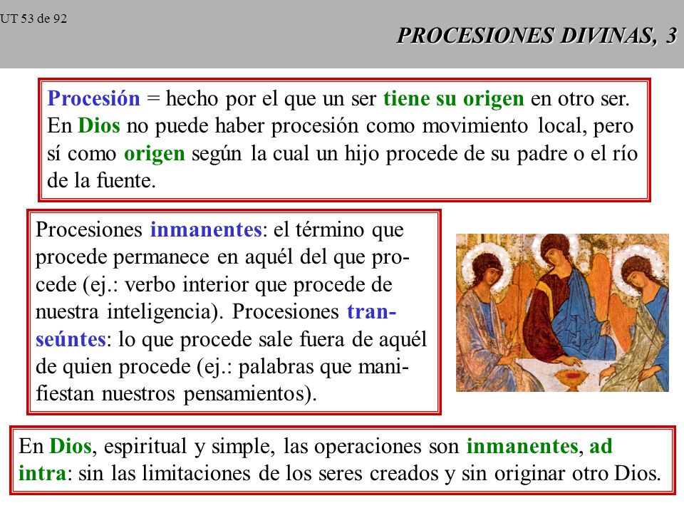 PROCESIONES DIVINAS, 2 Analogía = relación de semejanza entre dos o más cosas; propiedad del significado de los términos, que se opone tanto a la univ