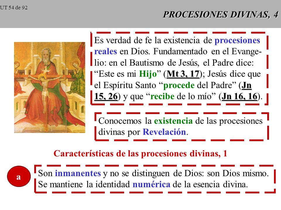 PROCESIONES DIVINAS, 3 Procesión = hecho por el que un ser tiene su origen en otro ser. En Dios no puede haber procesión como movimiento local, pero s