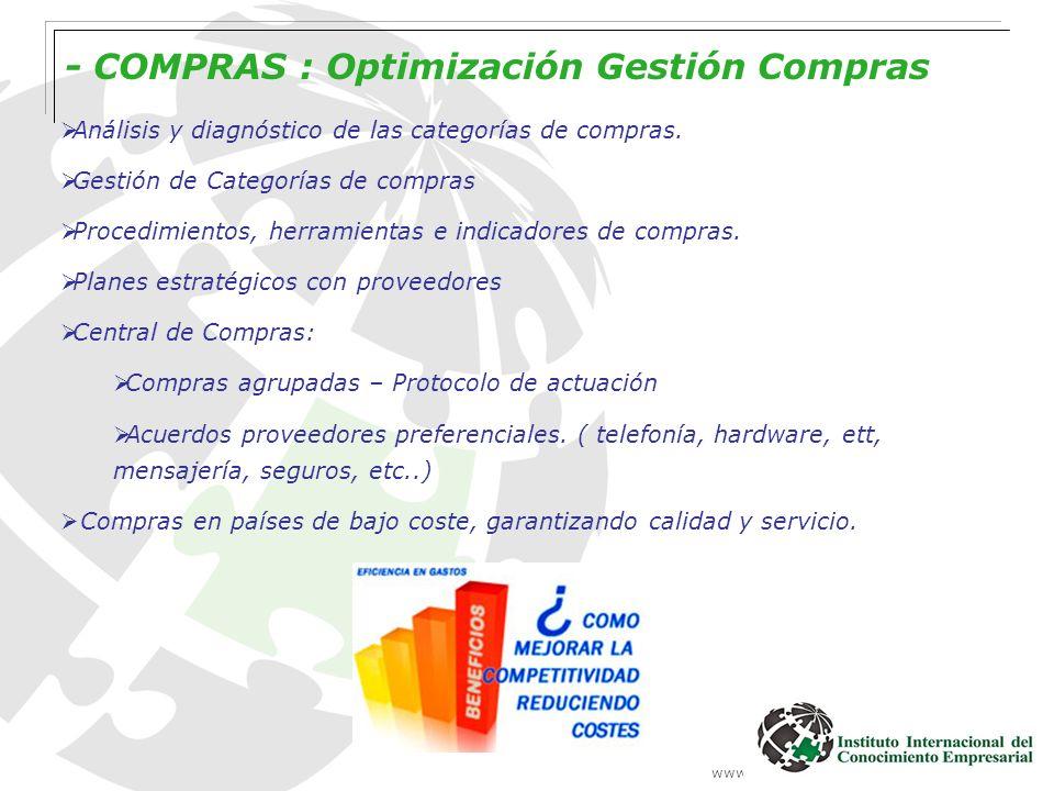 www.institutointerempresarial.com - COMPRAS : Optimización Gestión Compras Análisis y diagnóstico de las categorías de compras. Gestión de Categorías