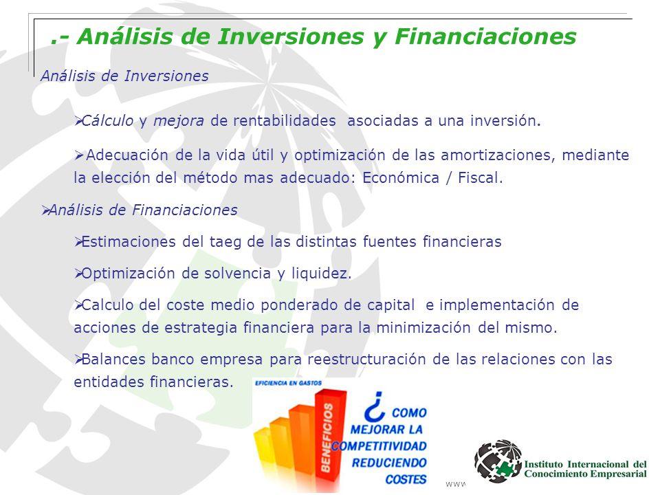 www.institutointerempresarial.com.- Análisis de Inversiones y Financiaciones Análisis de Inversiones Cálculo y mejora de rentabilidades asociadas a un