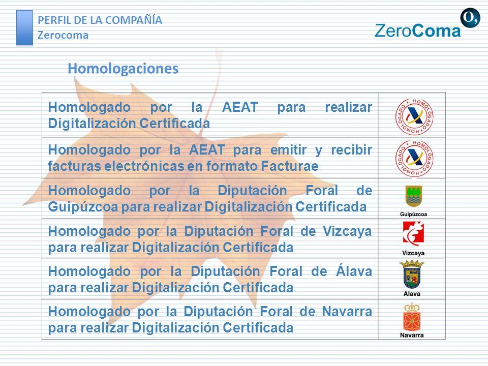 PERFIL DE LA COMPAÑÍA Zerocoma Homologado por la AEAT para realizar Digitalización Certificada Homologado por la AEAT para emitir y recibir facturas e