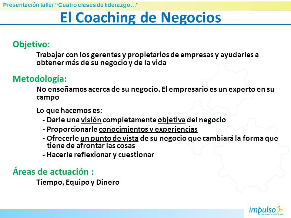 Presentación taller Cuatro clases de liderazgo… ¿Quién es IMPULSO? Empresa especializada en el apoyo y formación a dueños, directivos y equipos de peq