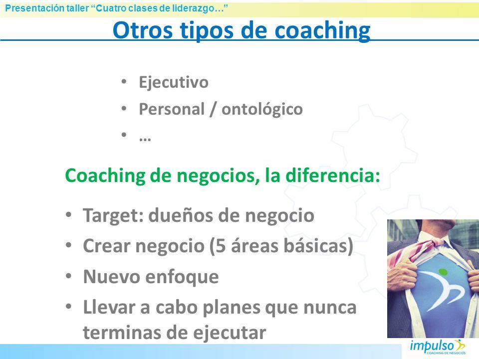 Presentación taller Cuatro clases de liderazgo… El Coaching de Negocios Objetivo: Trabajar con los gerentes y propietarios de empresas y ayudarles a o