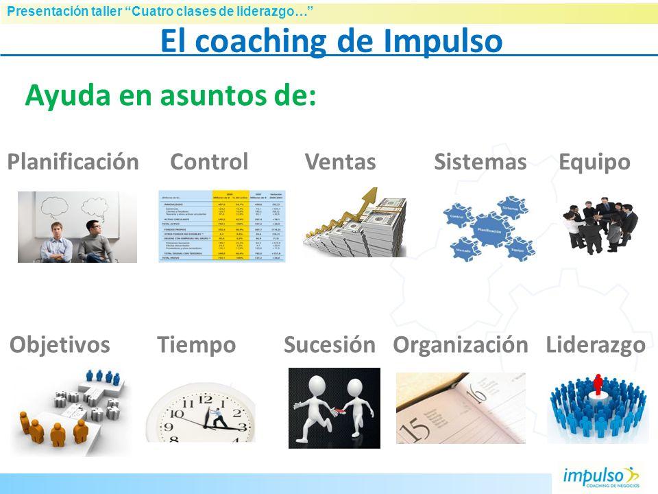 Presentación taller Cuatro clases de liderazgo… Otros tipos de coaching Ejecutivo Personal / ontológico … Coaching de negocios, la diferencia: Target: