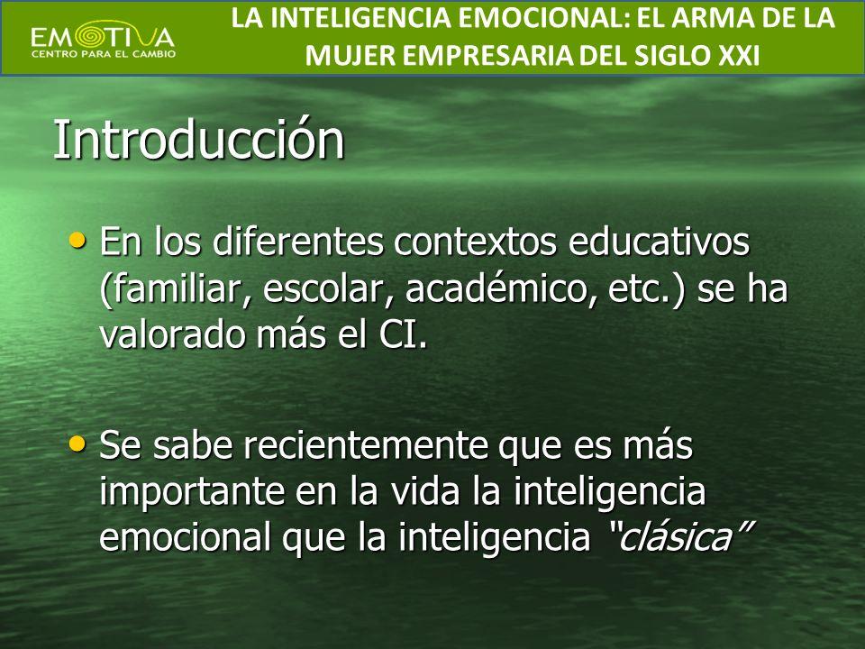 Introducción En los diferentes contextos educativos (familiar, escolar, académico, etc.) se ha valorado más el CI. En los diferentes contextos educati