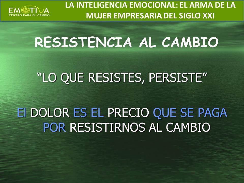 LO QUE RESISTES, PERSISTE El DOLOR ES EL PRECIO QUE SE PAGA POR RESISTIRNOS AL CAMBIO RESISTENCIA AL CAMBIO LA INTELIGENCIA EMOCIONAL: EL ARMA DE LA M