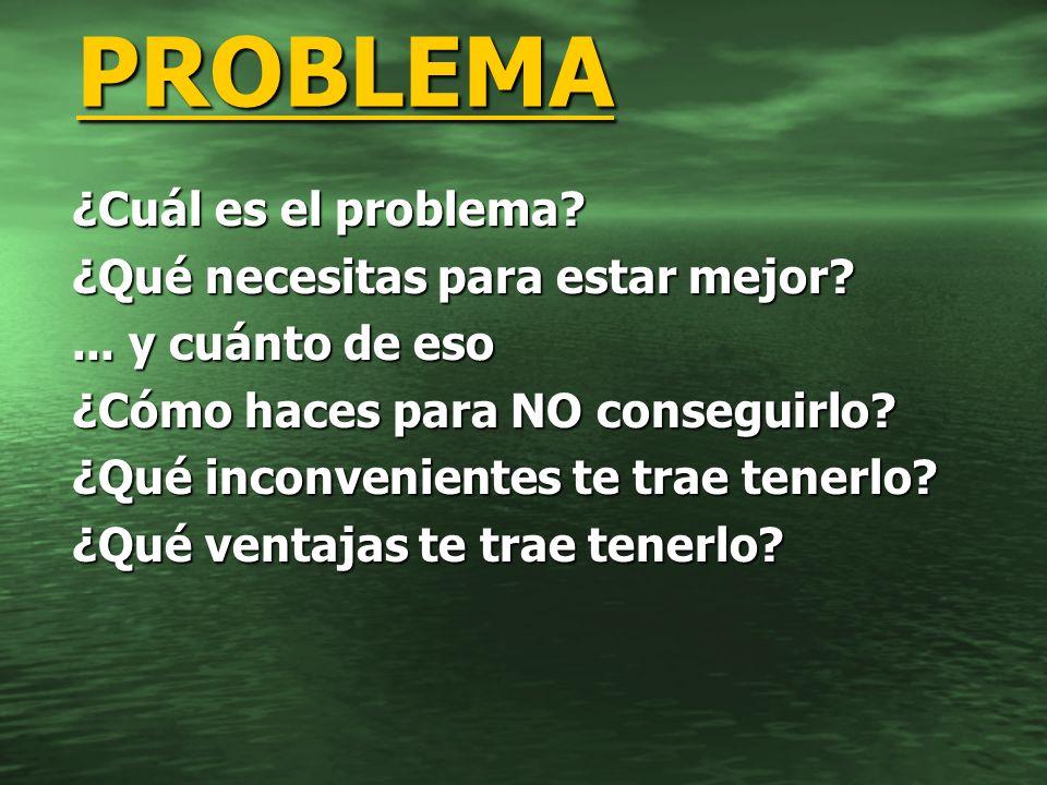 ¿Cuál es el problema? ¿Qué necesitas para estar mejor?... y cuánto de eso ¿Cómo haces para NO conseguirlo? ¿Qué inconvenientes te trae tenerlo? ¿Qué v