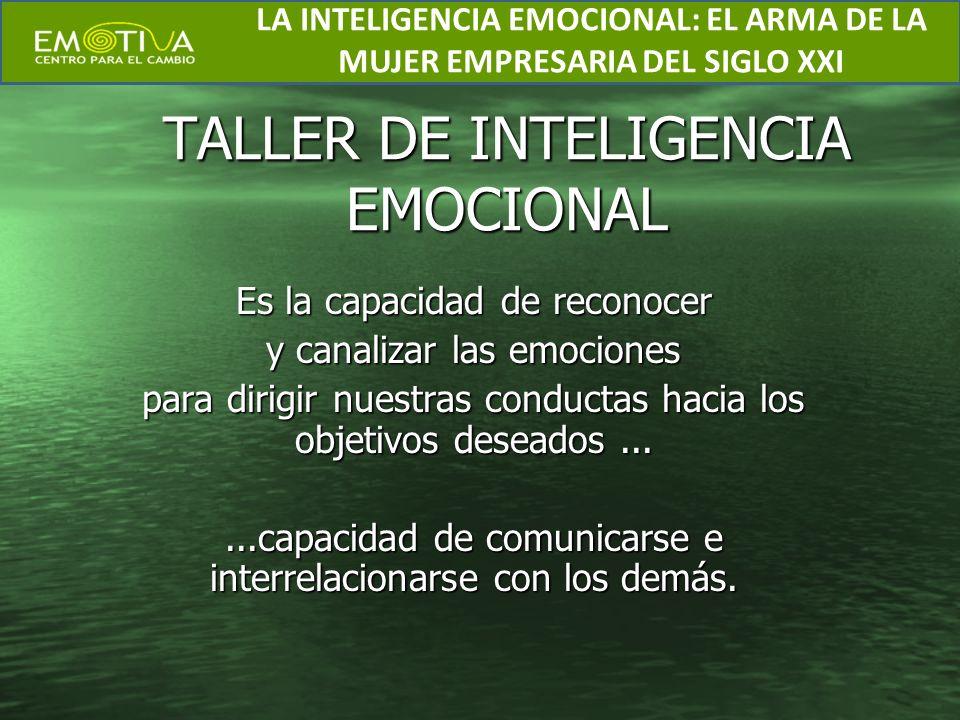TALLER DE INTELIGENCIA EMOCIONAL Es la capacidad de reconocer y canalizar las emociones para dirigir nuestras conductas hacia los objetivos deseados..