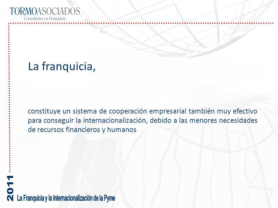 La franquicia, constituye un sistema de cooperación empresarial también muy efectivo para conseguir la internacionalización, debido a las menores nece