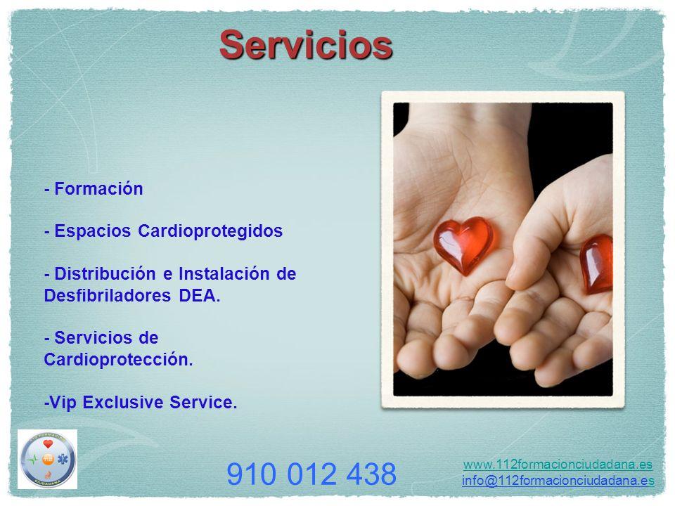 - Formación - Espacios Cardioprotegidos - Distribución e Instalación de Desfibriladores DEA. - Servicios de Cardioprotección. -Vip Exclusive Service.