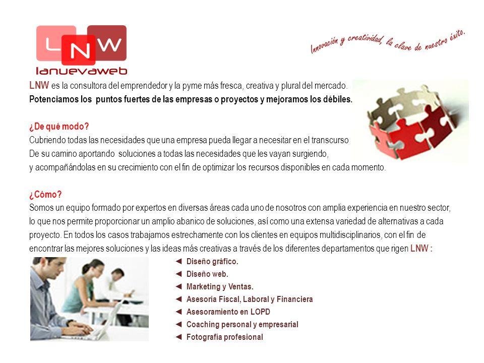 LNW es la consultora del emprendedor y la pyme más fresca, creativa y plural del mercado. Potenciamos los puntos fuertes de las empresas o proyectos y