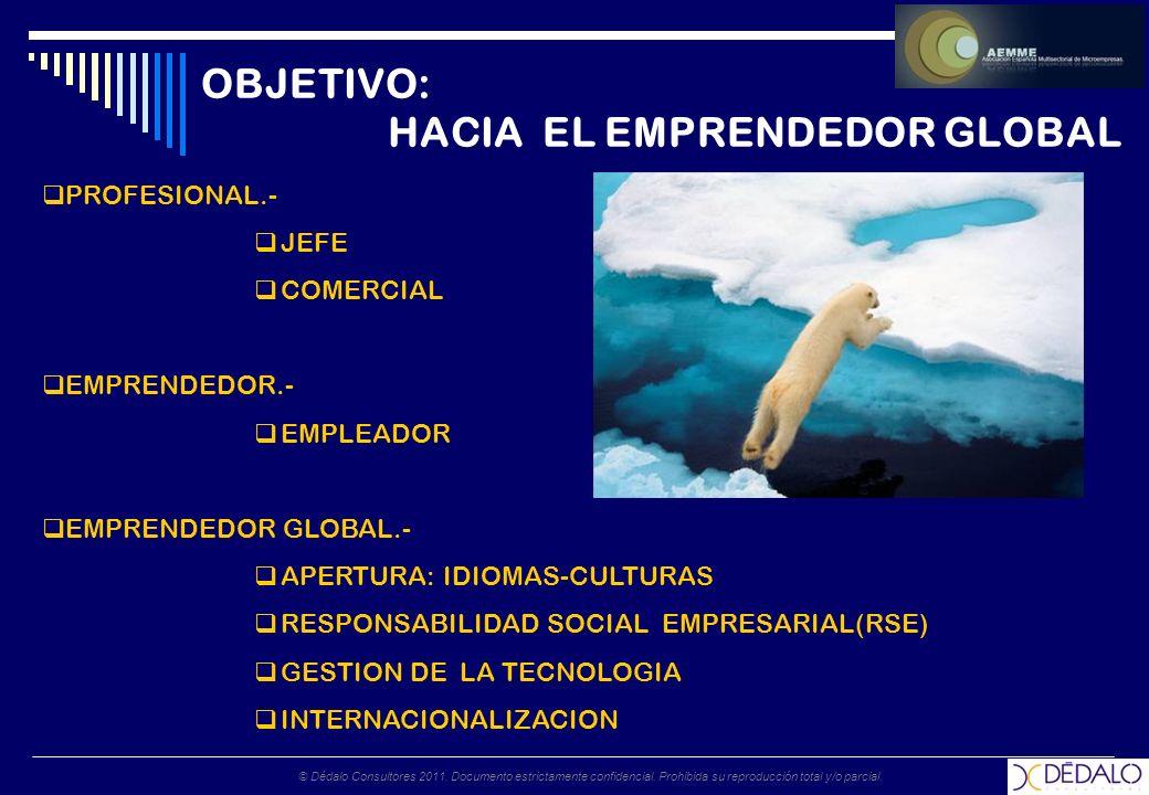 © Dédalo Consultores 2011. Documento estrictamente confidencial. Prohibida su reproducción total y/o parcial. OBJETIVO: HACIA EL EMPRENDEDOR GLOBAL PR
