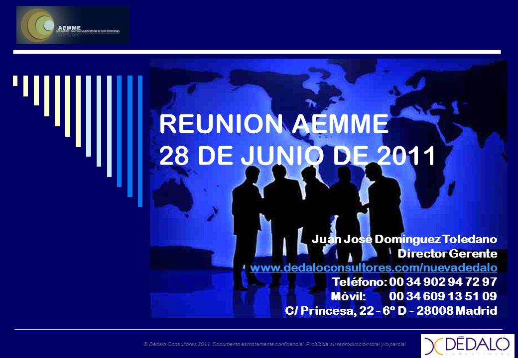 © Dédalo Consultores 2011. Documento estrictamente confidencial. Prohibida su reproducción total y/o parcial. REUNION AEMME 28 DE JUNIO DE 2011 Juan J