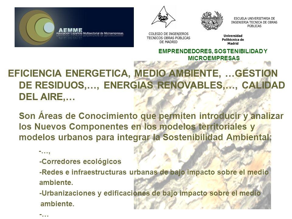 EMPRENDEDORES, SOSTENIBILIDAD Y MICROEMPRESAS EFICIENCIA ENERGETICA, MEDIO AMBIENTE, …GESTION DE RESIDUOS,…, ENERGIAS RENOVABLES,…, CALIDAD DEL AIRE,…
