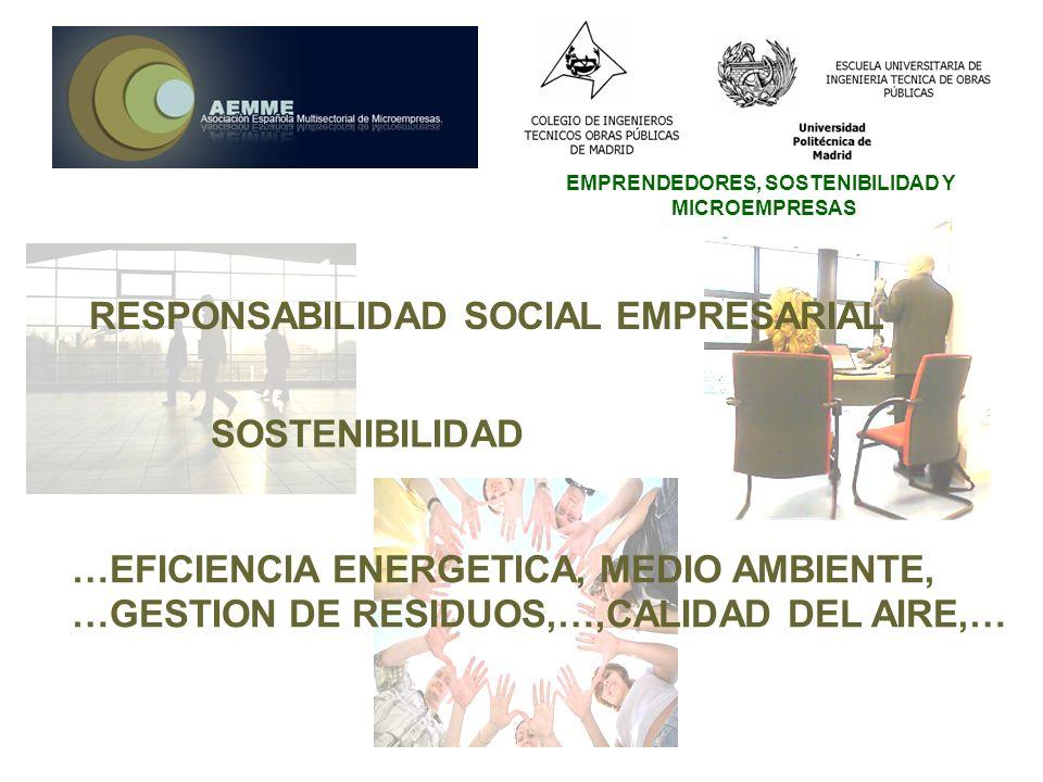 EMPRENDEDORES, SOSTENIBILIDAD Y MICROEMPRESAS RESPONSABILIDAD SOCIAL EMPRESARIAL SOSTENIBILIDAD …EFICIENCIA ENERGETICA, MEDIO AMBIENTE, …GESTION DE RE