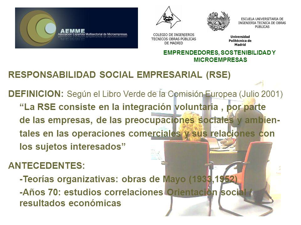 EMPRENDEDORES, SOSTENIBILIDAD Y MICROEMPRESAS RESPONSABILIDAD SOCIAL EMPRESARIAL (RSE) DEFINICION: Según el Libro Verde de la Comisión Europea (Julio
