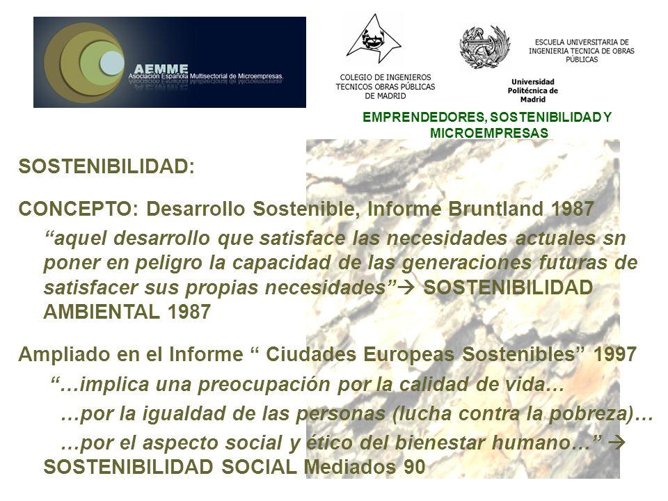 EMPRENDEDORES, SOSTENIBILIDAD Y MICROEMPRESAS SOSTENIBILIDAD: CONCEPTO: Desarrollo Sostenible, Informe Bruntland 1987 aquel desarrollo que satisface l