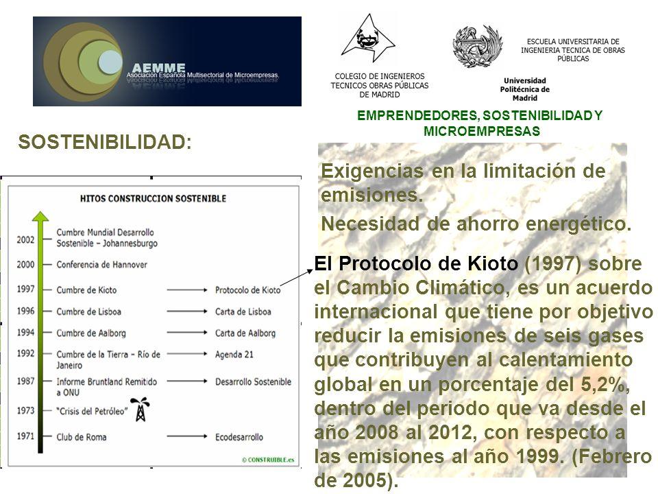 EMPRENDEDORES, SOSTENIBILIDAD Y MICROEMPRESAS SOSTENIBILIDAD: Exigencias en la limitación de emisiones. Necesidad de ahorro energético. El Protocolo d