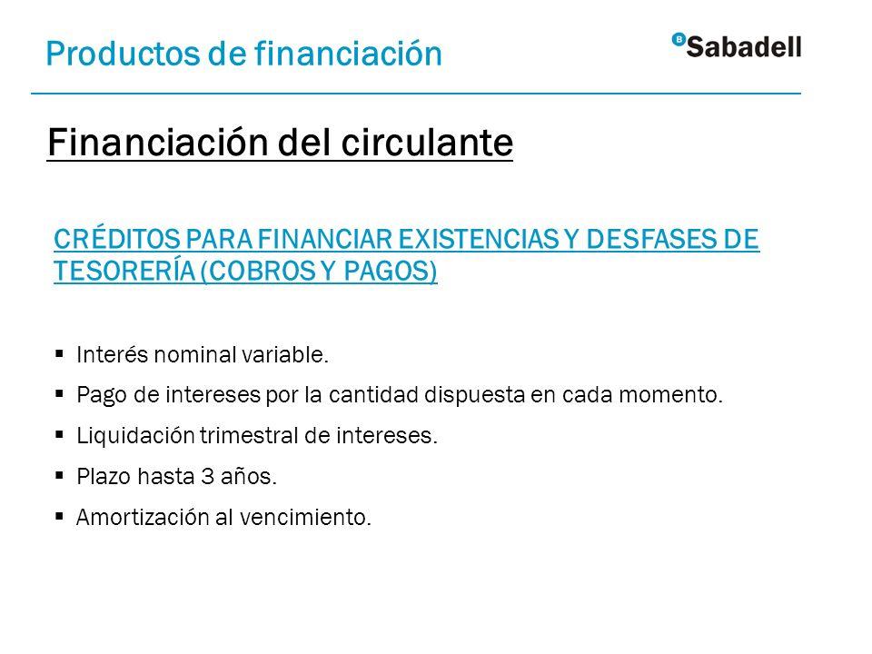 CRÉDITOS PARA FINANCIAR EXISTENCIAS Y DESFASES DE TESORERÍA (COBROS Y PAGOS) Interés nominal variable. Pago de intereses por la cantidad dispuesta en