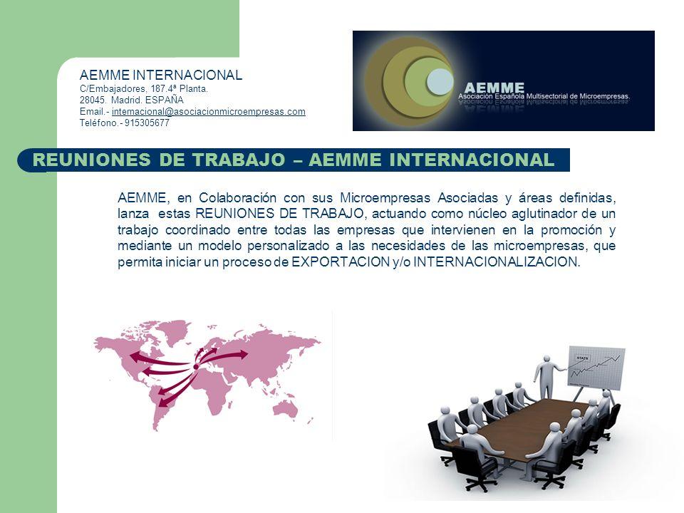 AEMME, en Colaboración con sus Microempresas Asociadas y áreas definidas, lanza estas REUNIONES DE TRABAJO, actuando como núcleo aglutinador de un tra