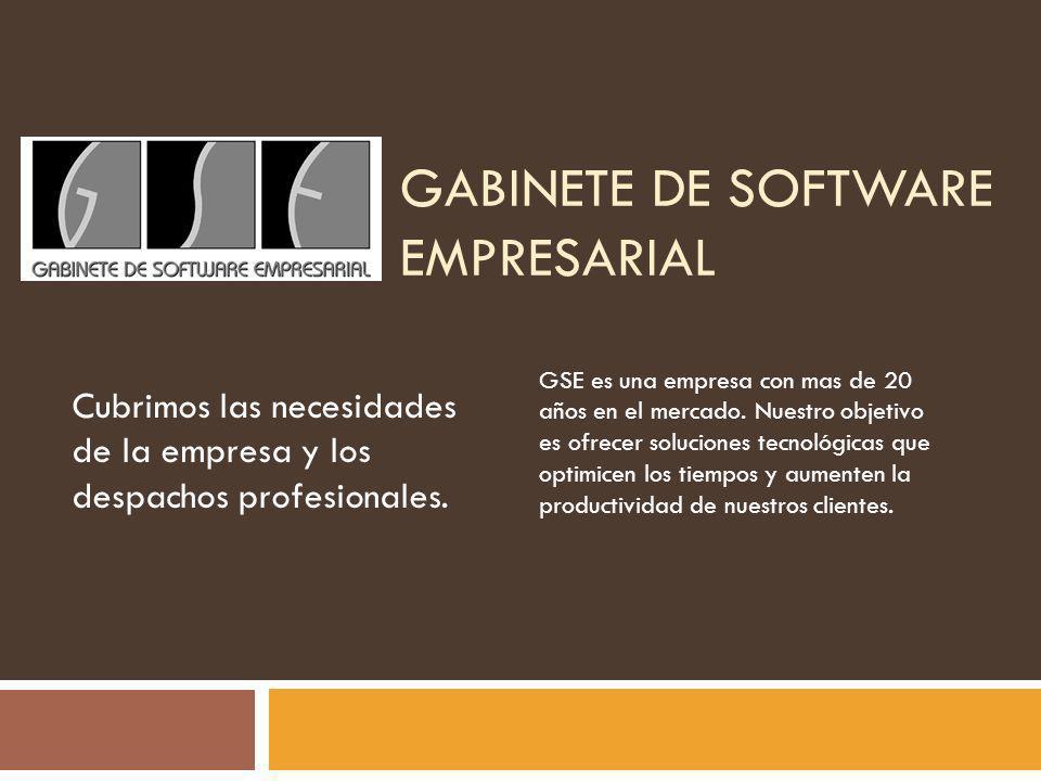 GABINETE DE SOFTWARE EMPRESARIAL Cubrimos las necesidades de la empresa y los despachos profesionales. GSE es una empresa con mas de 20 años en el mer
