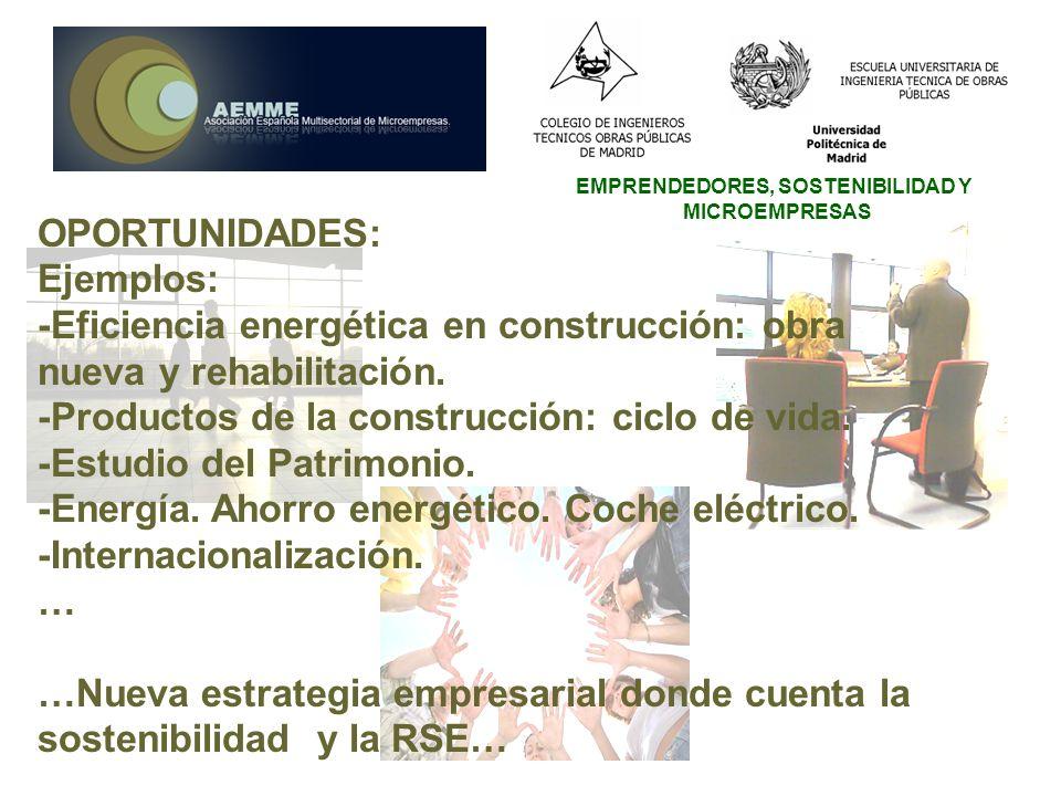 EMPRENDEDORES, SOSTENIBILIDAD Y MICROEMPRESAS OPORTUNIDADES: Ejemplos: -Eficiencia energética en construcción: obra nueva y rehabilitación.
