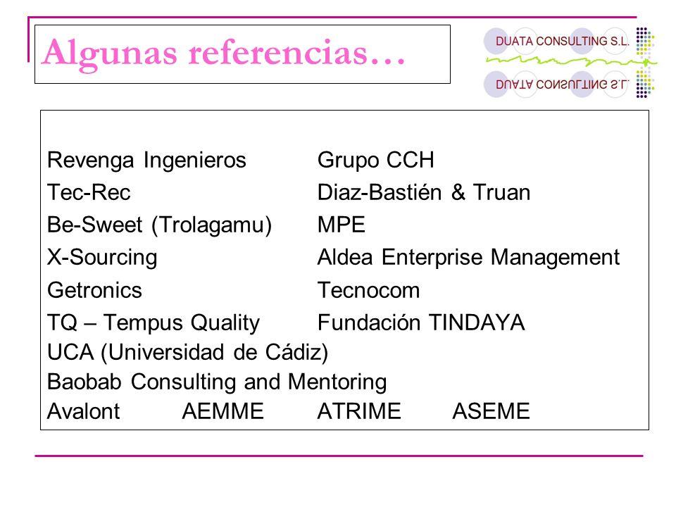 Algunas referencias… Revenga Ingenieros Grupo CCH Tec-Rec Diaz-Bastién & Truan Be-Sweet (Trolagamu)MPE X-Sourcing Aldea Enterprise Management Getronic