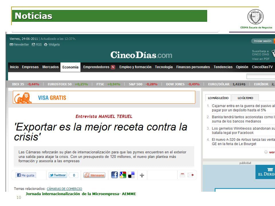 CESMA Escuela de Negocios Estructura Económica Española e Internacional Jornada internacionalización de la Microempresa- AEMME 10 Noticias