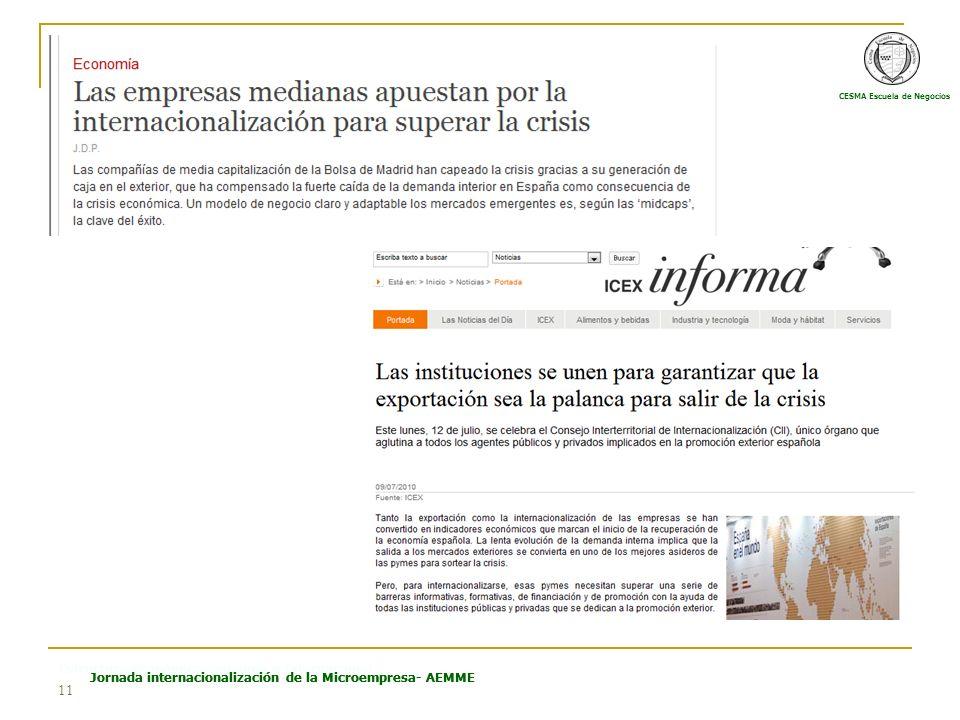 CESMA Escuela de Negocios Estructura Económica Española e Internacional Jornada internacionalización de la Microempresa- AEMME 11